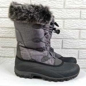 Kamik Momentum Winter Boots 9.5 Gray Faux Fur